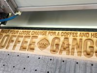 Kenco - Coffee Vs Gangs campaign, laser engraved wooden signs
